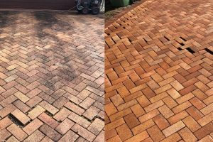 before and after driveway cleaning